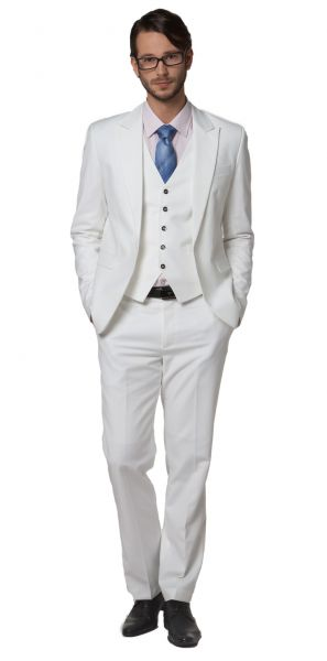 Fitted 3 piece Dress Suit for men Blazer Waistcoat Pants - White