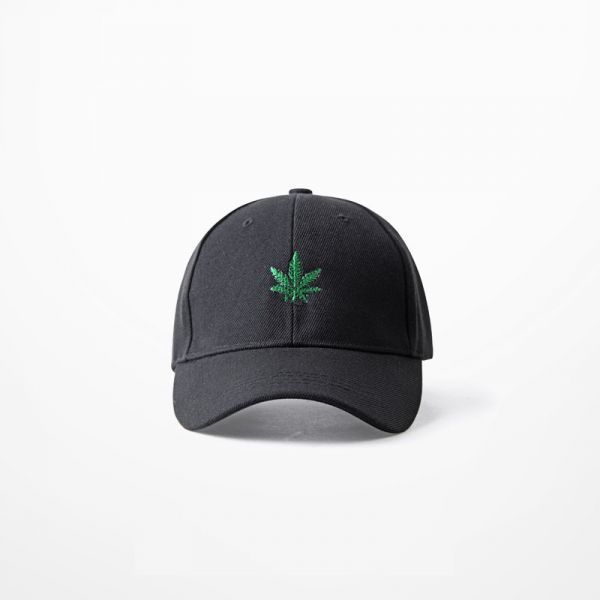 Black baseball cap with cannabis leaf embroidered on the front weed ganja hat