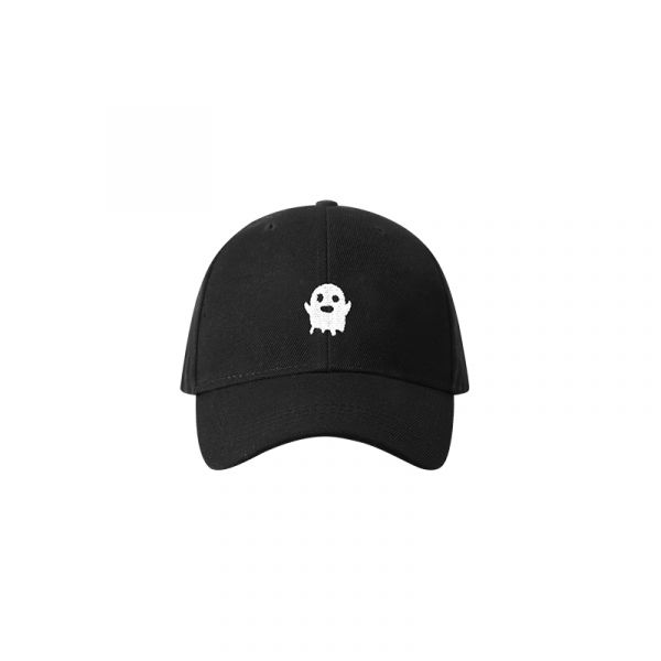 Black cap with cute little ghost embroidered in white on the front