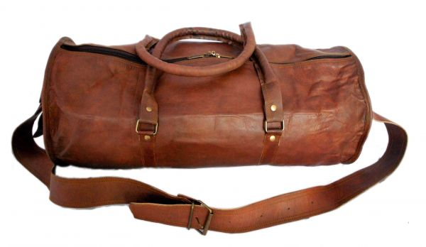 Vintage leather duffle bag sports style Round 18 inches