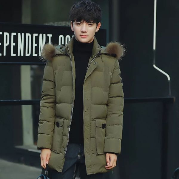 Men's Down Jacket with Hooded Detachable Fur