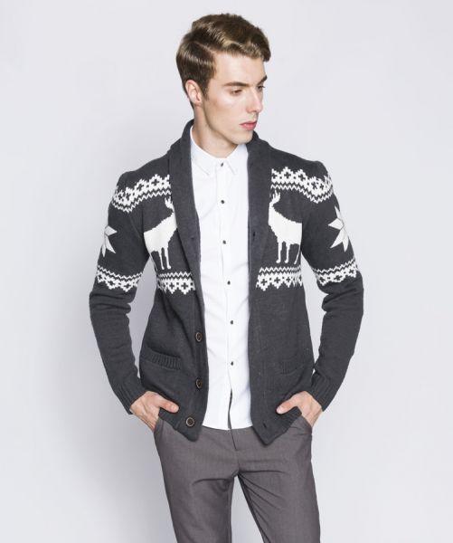Men's Knit Vest with Winter Deer Pattern