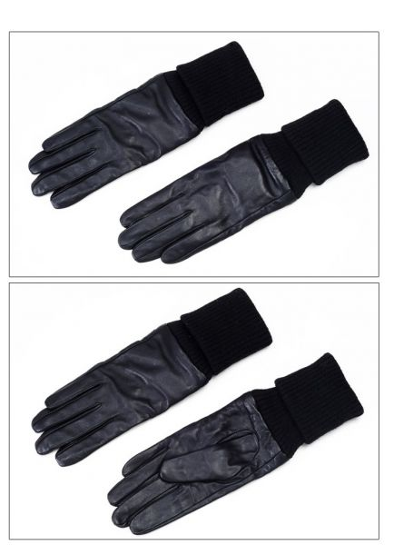 Women's leather gloves with acrylic sleeve extension
