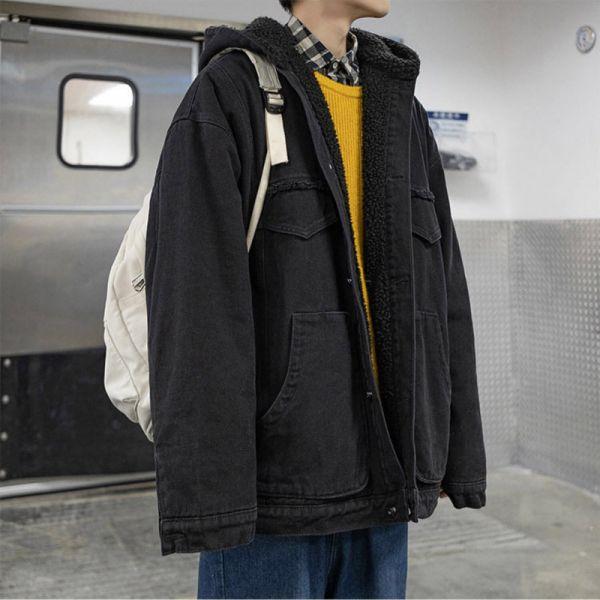 Hooded oversized winter demin jacket for men