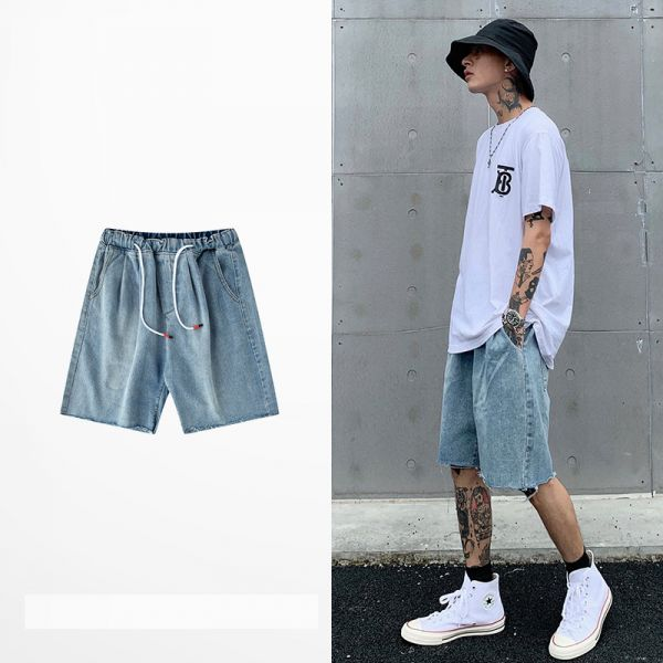 Jeans shorts for men with waist drawstring