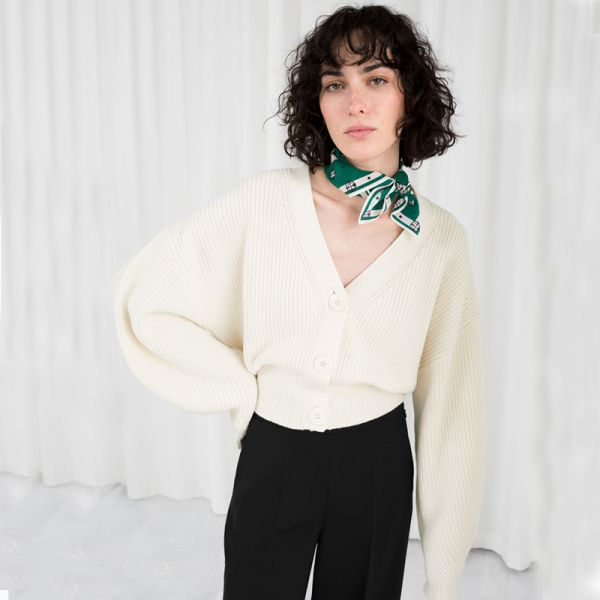 Knit button up cardigan for women