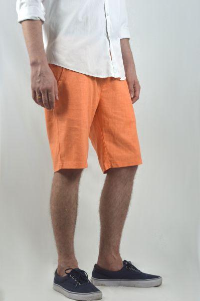 Linen Mid Length Smart Shorts For Men In Orange Summer Shorts