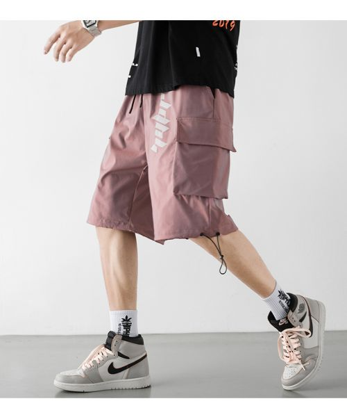 Loose elasticated men's cargo shorts