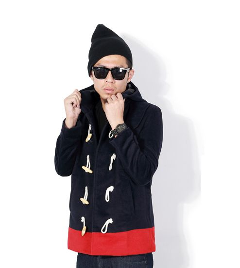 Men's Two Tone Duffle Coat with Hood and Classic Buttons - Navy Black