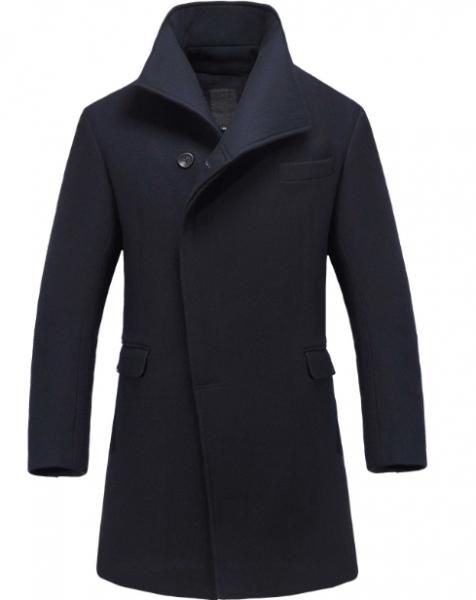 Men's Long Winter Coat with Hidden Buttons - Wool