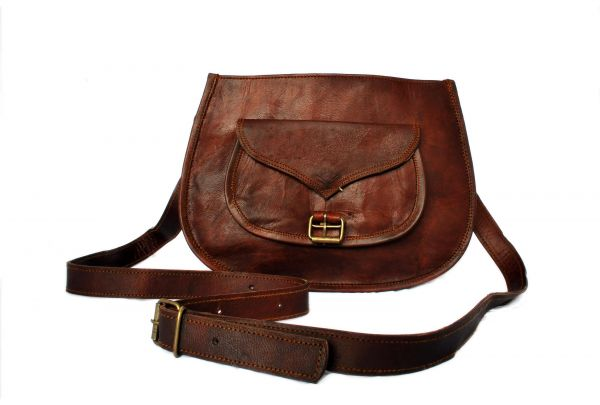 Retro Fashion Genuine Leather Bag Vintage with Shoulder Strap - 13 inches