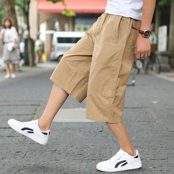 Oversized cotton shorts for men