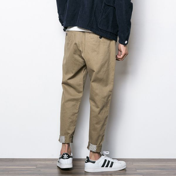 Chino pants for men with inside text printed on bottom cuff