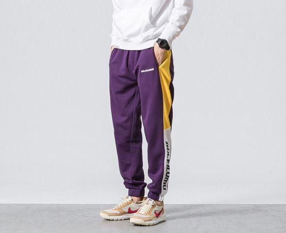 Sweatpants retro sportswear tracksuit trousers for men with bloc color contrast