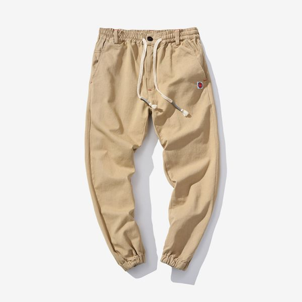 Cotton jogger pants for men with elastic waist and ankles