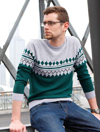 Retro Fashion Pullover Jumper for Men with Diamonds Stripes