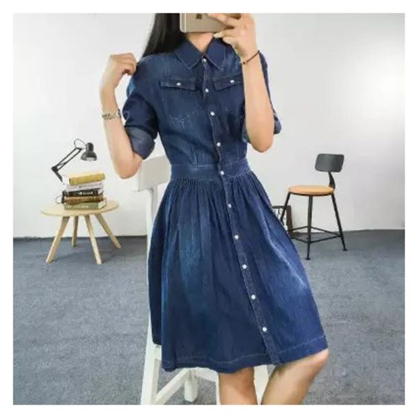Rolled sleeve washed denim dress for women