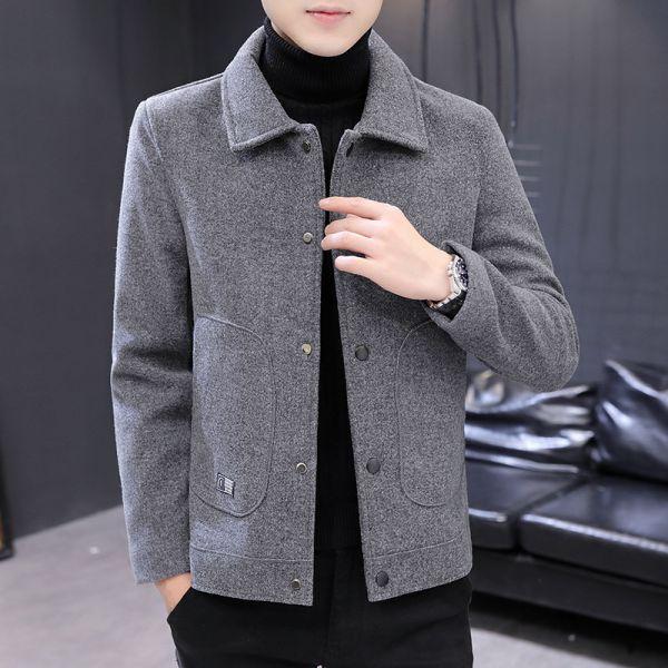 Slim fit short wool mix jacket for men
