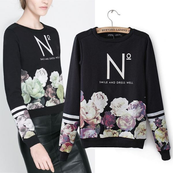 Smile and Dress Well Sweater Jumper for Women Flower Print Swag