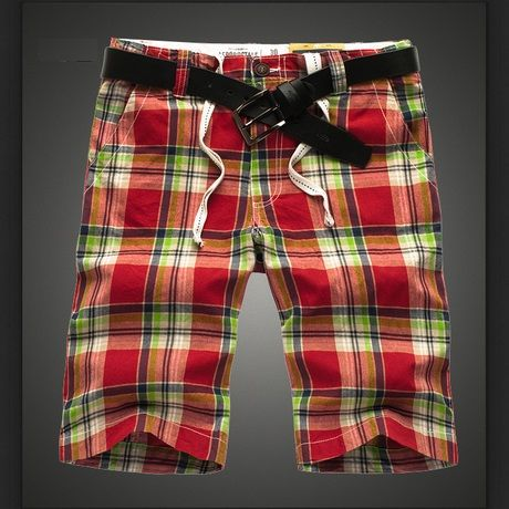 Bermuda Summer Shorts for Men with Green and Red Plaid Pattern
