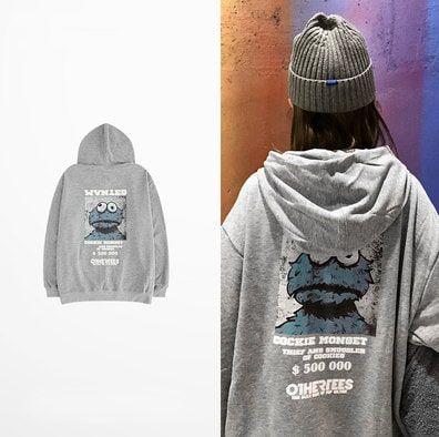 Cookie Monster Hoodie Sweatshirt with $200K Print for Men Women