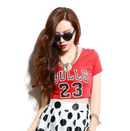 Chicago Bulls 23 Jordan Crop Top T shirt for Women Black White