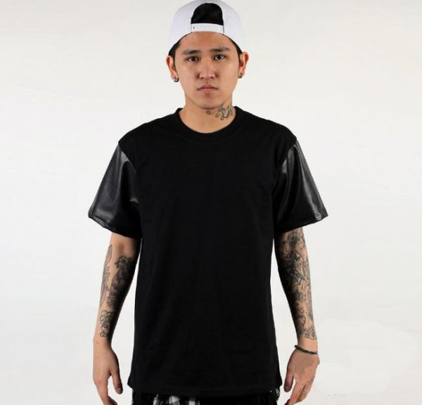Short Leather Sleeves T shirt with Cotton Body Bimaterial Black