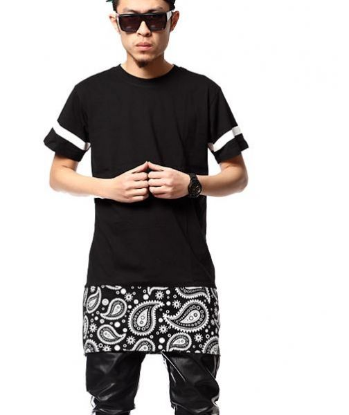 Oversize Bandana Extension T shirt Hip Hop Swag West Coast