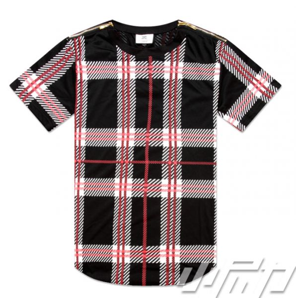 Tartan Oversize Swag T shirt for Men with Red and Black Plaid Print