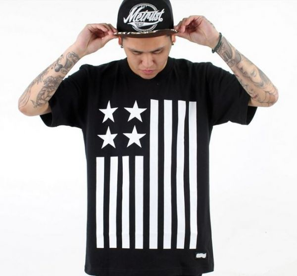Stars and Stripes T Shirt Black and White US Flag Swag