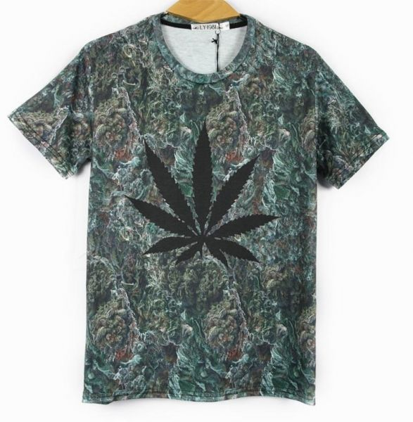 Stretch T-shirt with Ganja Leaf and Weed Close Up Background - Slim fit