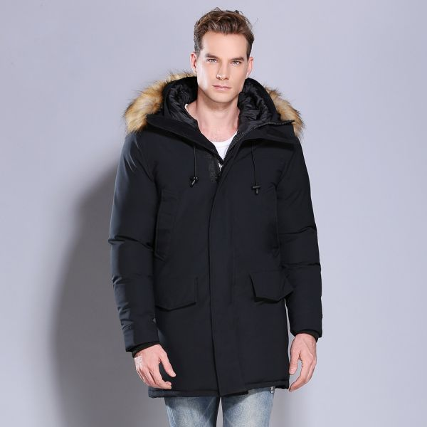 Tall hooded parka with detachable faux fur trim
