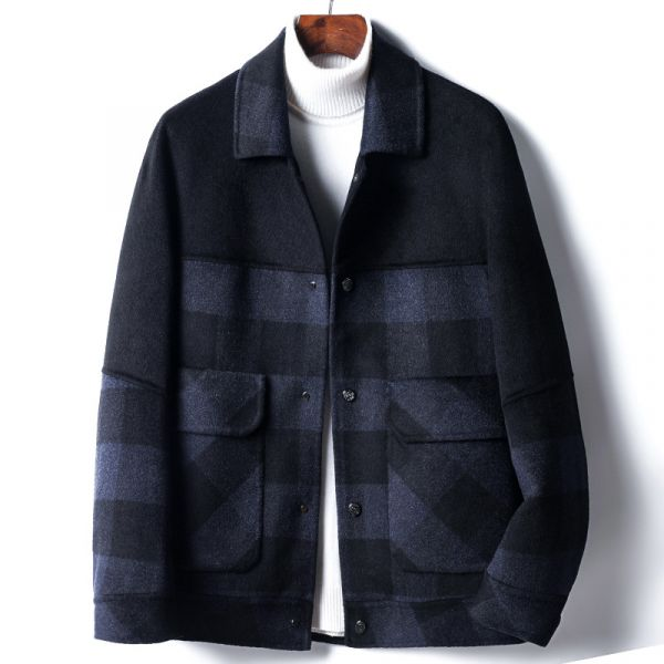 Winter wool short coat with blue checks plaid for men